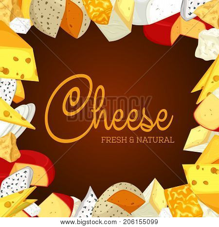 Banner for chunk of cheese with holes. Badge or sign for vegetarian or vegan nutrition. Insignia for natural and healthy milk food. Eat and nutrition, gourmet product, appetizer theme
