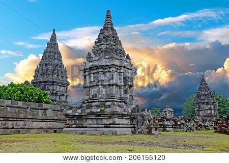 Prambanan or Candi Rara Jonggrang is a Hindu temple compound in Java, Indonesia, dedicated to the Trimurti: the Creator (Brahma), the Preserver (Vishnu) and the Destroyer (Shiva)
