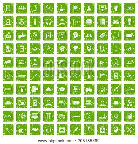 100 support center icons set in grunge style green color isolated on white background vector illustration
