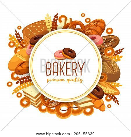 Bakery food in form of circle for bakehouse banner, baguette or baton, loaf of bread and rye pastry badge, butterbrot bread and baton, french croissant sign. Bakehouse or shop, store theme