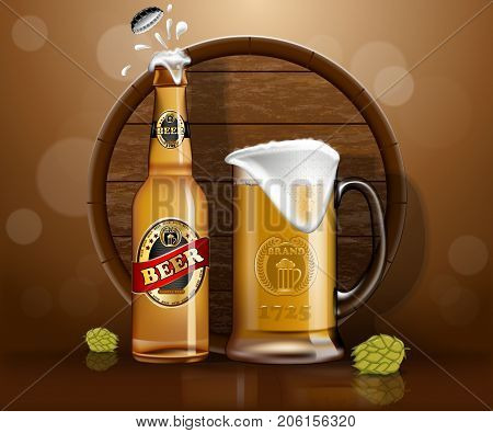 Glassware bottle of beer and mug with foam near wooden barrel and hop or malt. Alcohol drink realistic banner for pub or bar, booze sign or poster for shop or store. Advertising and branding theme