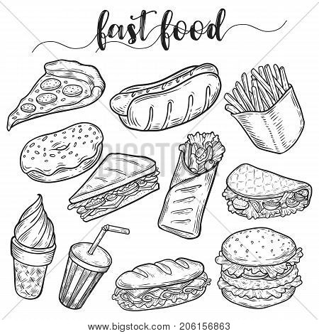 Set of isolated sketches of junk or fast food. Hot dog and hamburger, cheeseburger and sandwich, donut or doughnut, ice cream in waffle cone, soda in cup with straw. Food and nutrition theme
