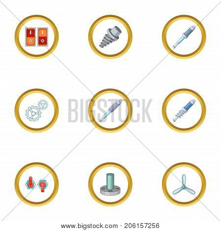 Mechanism parts icons set. Cartoon style set of 9 mechanism parts vector icons for web design