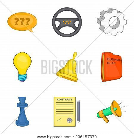 Contact icons set. Cartoon set of 9 contact vector icons for web isolated on white background