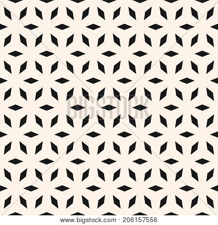 Abstract seamless pattern, simple geometric floral ornament. Elegant black & white texture. Mosaic background, repeat tiles. Sacred geometry Islamic motif. Design for decor, prints. - Stock vector