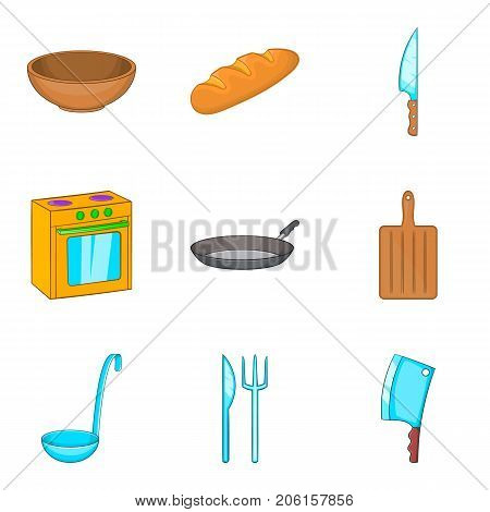 Cook room icons set. Cartoon set of 9 cook room vector icons for web isolated on white background