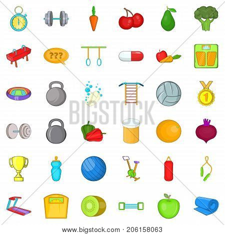 Workout icons set. Cartoon style of 36 workout vector icons for web isolated on white background