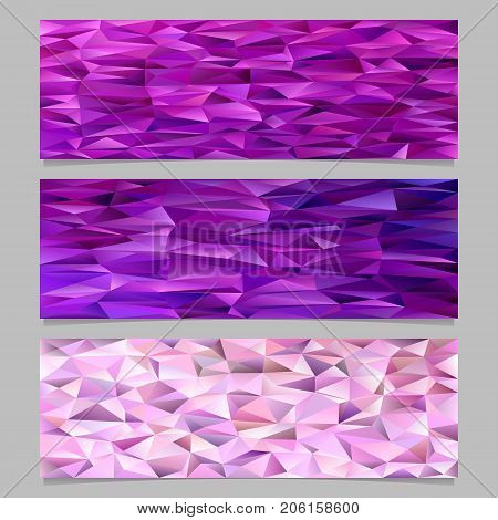 Abstract gradient triangular polygon pattern mosaic banner template background set - trendy vector illustrations from colored irregular triangles