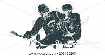 ICE HOCKEY. From the series SILENT HEROES - Athletes with physical disabilities. An hand drawn vector.