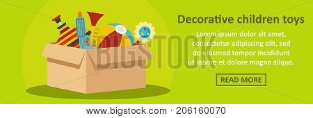 Decorative children toys banner horizontal concept. Flat illustration of decorative children toys banner horizontal vector concept for web design