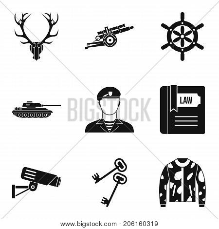 Military training icons set. Simple set of 9 military training vector icons for web isolated on white background