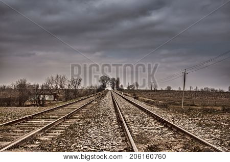 Rails (dormitories) At The Electrified Railway Corridor. Cloudy Weather. Gazakh Azerbaijan