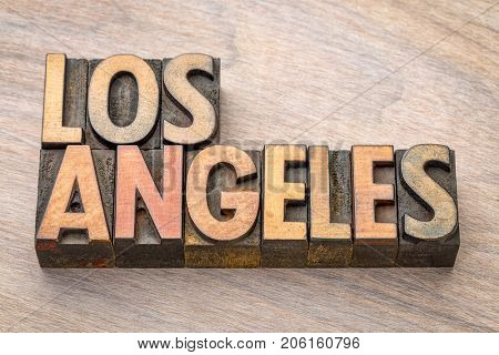 Los Angeles - word abstract in vintage letterpress wood type printing blocks
