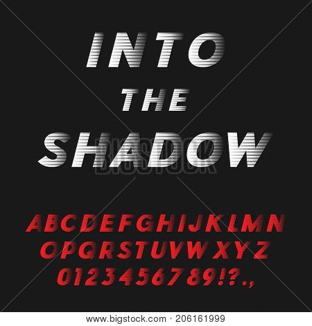 Bold Italic Font Coming Into The Shadow. Futuristic Sans Serif Typeface. Letters, Numbers, Punctuation Marks. Latin Alphabet. Vector