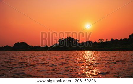 Amazing Sunset At Paraguai River In Pantanal, Brazil