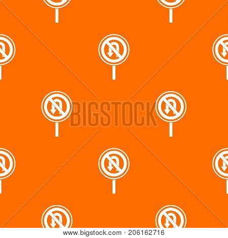 No U turn road sign pattern repeat seamless in orange color for any design. Vector geometric illustration