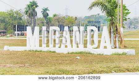 Welcome Sculpture With The Name Of Miranda City