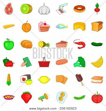 Cookie icons set. Cartoon style of 36 cookie vector icons for web isolated on white background