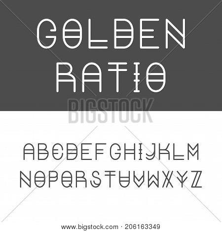Trendy Golden Ratio Thin Line Typeface. Golden Proportion Font. Latin Alphabet. Vector