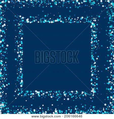 Amazing Falling Snow. Square Abstract Frame With Amazing Falling Snow On Deep Blue Background. Glamo