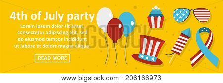 4th of july party banner horizontal concept. Flat illustration of 4th of july party banner horizontal vector concept for web design