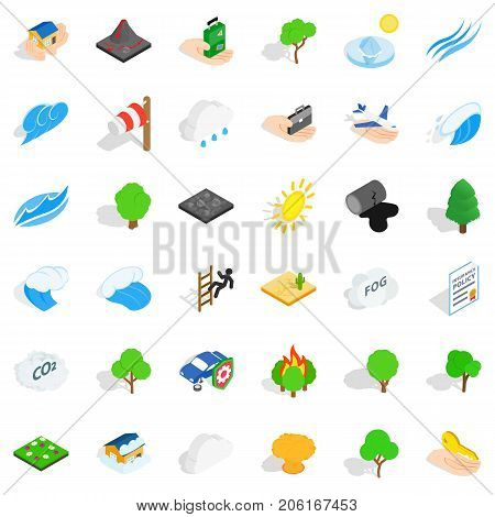Disaster icons set. Isometric style of 36 disaster vector icons for web isolated on white background