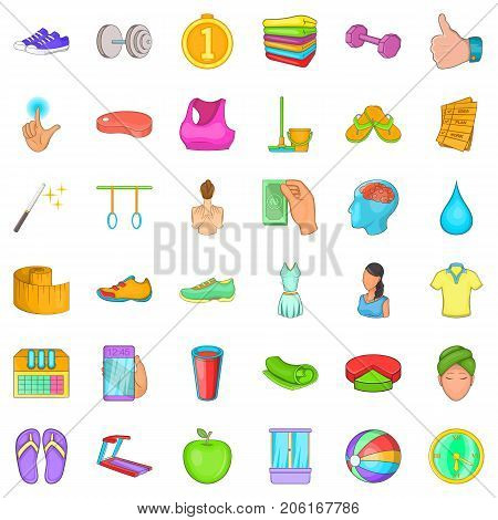 Fitness center icons set. Cartoon style of 36 fitness center vector icons for web isolated on white background
