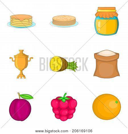 Pancake icons set. Cartoon set of 9 pancake vector icons for web isolated on white background