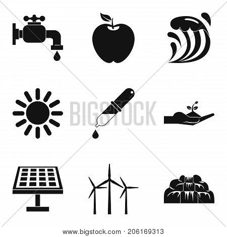 Particle icons set. Simple set of 9 particle vector icons for web isolated on white background