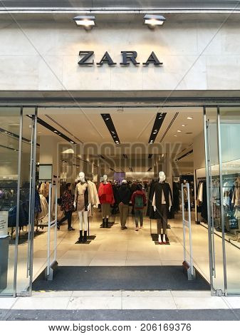 LONDON - SEPTEMBER 19, 2017: Zara fashion retail store entrance on Long Acre, Covent Garden, London, UK.