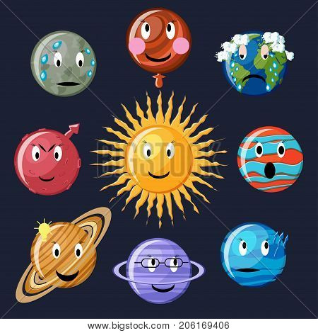 Solar system emoticon set. Cute cartoon planets Mercury, Venus, Earth, Mars, Jupiter, Saturn, Uranus, Neptune and sun. Astronomy emoticons. Planets emoji. Planets smiley. Vector Illustration.