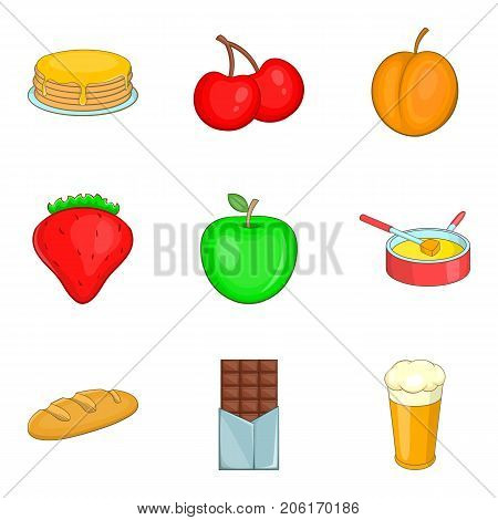 Pancake with toppings icons set. Cartoon set of 9 pancake with toppings vector icons for web isolated on white background