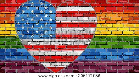 LGBT flag on a brick wall with the USA heart - Illustration,  Abstract grunge United States of America flag and LGBT flag