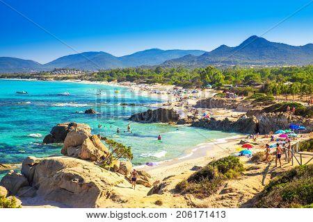 Spaggia Di Santa Giusta Beach With Famous Peppino Rock, Costa Rei, Sardinia, Italy