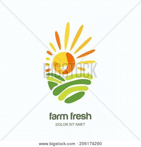 Farm And Farming Vector Label, Emblem, Logo Design Template. Isolated Illustration Of Fields, Farm L