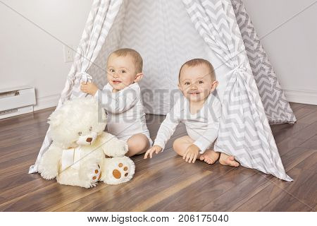 A Children's hut in the room. Interior of the children's room