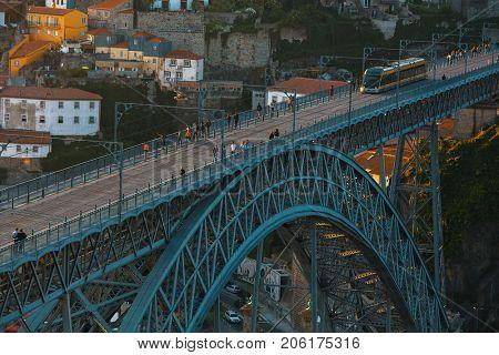 Closeup Dom luis I bridge, Porto, Portugal.