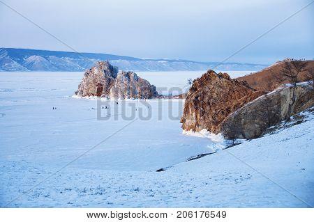 Olkhon Island. Lake Baikal, Winter Landscape. Mountain Shamanka.