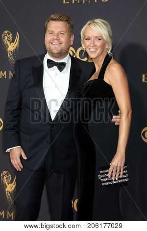 LOS ANGELES - SEP 17:  James Corden, Julia Carey at the 69th Primetime Emmy Awards - Arrivals at the Microsoft Theater on September 17, 2017 in Los Angeles, CA