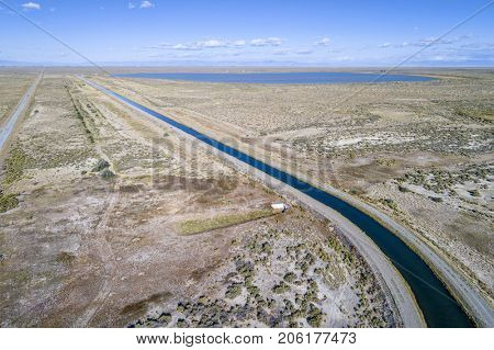 Aerial view of Franklin Eddy Canal part of the Closed Basin Project to extract groundwater in San Louis Valley (Colorado) and deliver to Rio Grande River