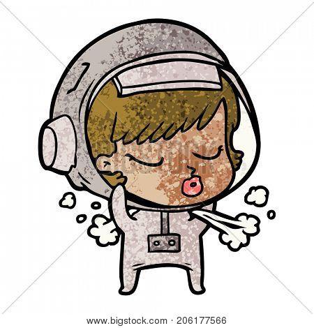 cartoon pretty astronaut girl taking off space helmet