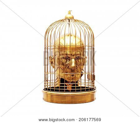3d Render: Man with a Cage on His Head Isolated on White