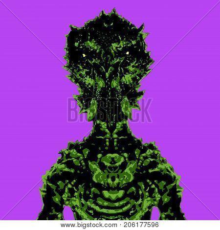 Astronaut alien. Vector illustration. Science fiction original character. Original character the astronaut.