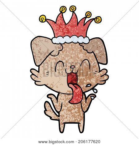 cartoon panting dog shrugging shoulders
