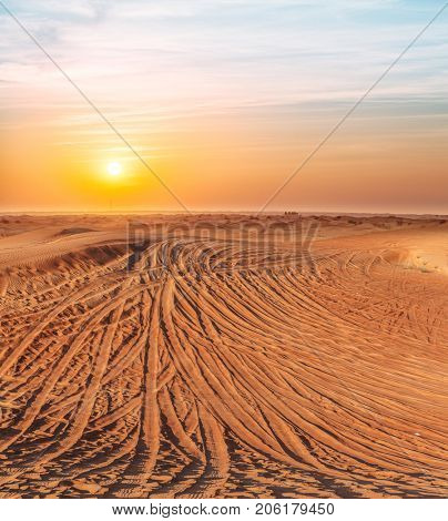 Desert covered with tire-treads in the sunset.