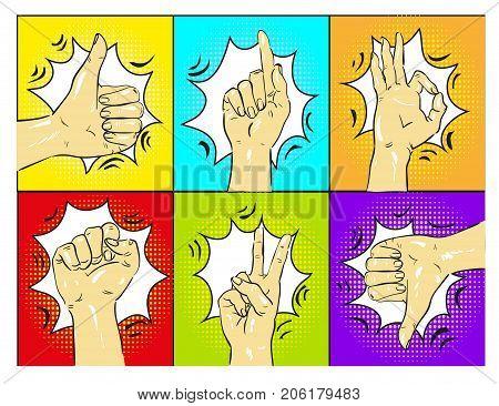 Pop art hands vector illustration stock art