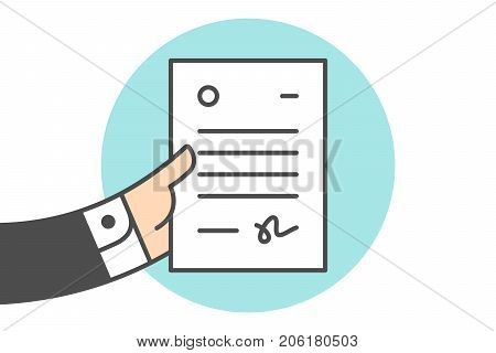 Icon of letter in the businessman hand. White letter with text in line graphic. Hand of businessman holds the file icon. Icon of letter isolated on a blue circle. Vector Illustration