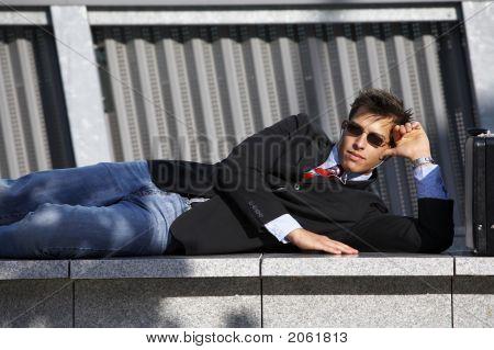 Business Man Enjoing Breaktime