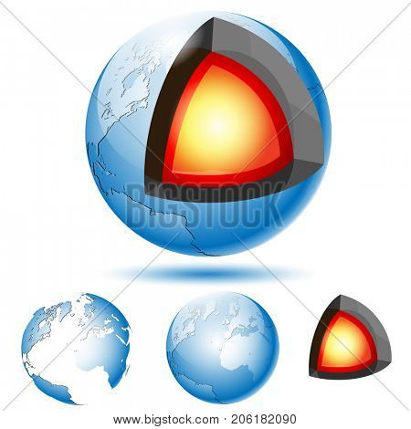 Earth Core Structure with Geological layers. Set icons. Illustration