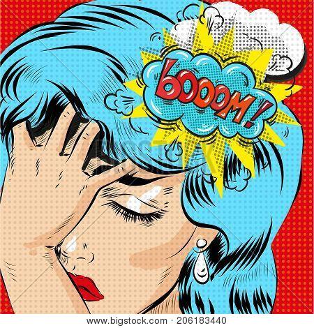 Woman in pop art retro comic style. Woman Oh emotional reaction speech bubble. stock